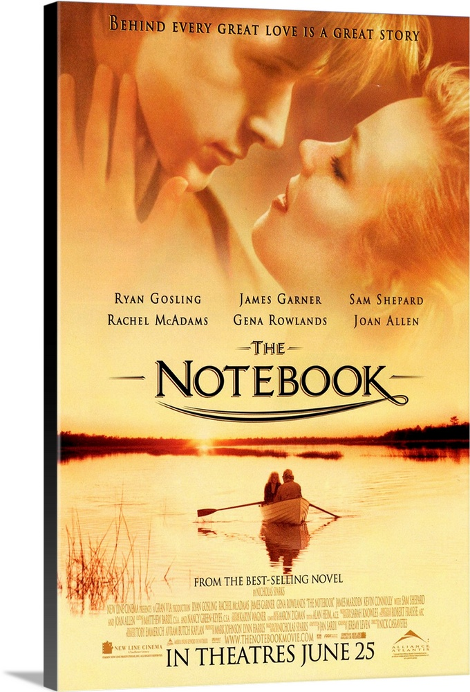 Large Solid-Faced Canvas Print Wall Art Print 24 x 36 entitled The Notebook (2004) Solid-Faced Canvas Print entitled The Notebook 2004.  A poor and passionate young man falls in love with a rich young woman and gives her a sense of freedom. They soon are separated by their social differences.  Multiple sizes available.  Primary colors within this image include Orange, Dark Red, Peach, Black.  Made in USA.  All products come with a 365 day workmanship guarantee.  Archival-quality UV-resistant inks.  Canvas is handcrafted and made-to-order in the United States using high quality artist-grade canvas.  Featuring a proprietary design, our canvases produce the tightest corners without any bubbles, ripples, or bumps and will not warp or sag over time.