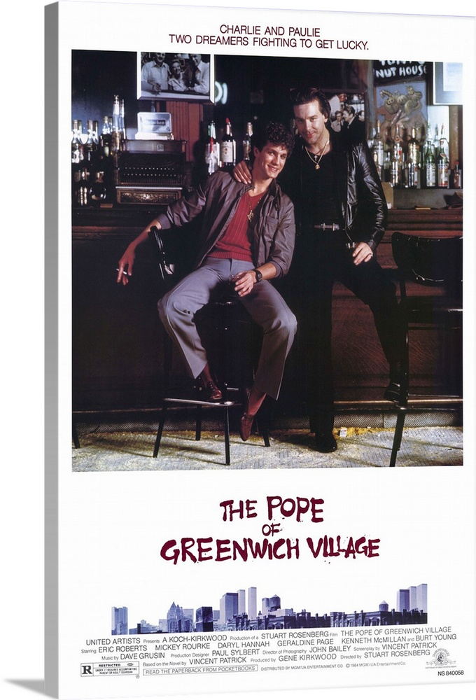 Large Gallery-Wrapped Canvas Wall Art Print 16 x 24 entitled The Pope of Greenwich Village (1984) Gallery-Wrapped Canvas entitled The Pope of Greenwich Village 1984.  Two Italian-American cousins Rourke and Roberts struggle to escape the trap of poverty in New Yorks Greenwich Village. When a small crime goes wrong in a big way the two must learn about deception and loyalty. Mostly character study Page is exceptional. Inferior re-run of the Mean Streets idea does have its moments.  Multiple sizes available.  Primary colors within this image include Plum Peach Dark Gray White.  Made in USA.  Satisfaction guaranteed.  Archival-quality UV-resistant inks.  Canvas is designed to prevent fading.  Museum-quality artist-grade canvas mounted on sturdy wooden stretcher bars 1.5 thick.  Comes ready to hang.