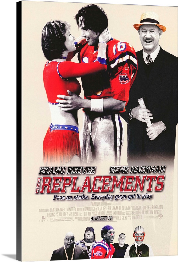 Large Solid-Faced Canvas Print Wall Art Print 20 x 30 entitled The Replacements (2000) Solid-Faced Canvas Print entitled The Replacements 2000.  An NFL players strike finds coach Hackman stuck with a bunch of replacement players, including washed-up quarterback Shane Falco Reeves and never-was receiver Clifford Franklin Jones. If you can get past the fact that the heroes are scabs, this silly cliche-fest still isnt very good. Its better than it oughta be, but only because of Hackmans presence and Joness comic talents. The odd assortment of misfits and goofballs is occasionally amusing, but nothing you havent seen in all the other rag-tag-team-fights-the-odds sports comedies. Based on the 1987 strike when players filling in for the Washington Redskins won three straight games.  Multiple sizes available.  Primary colors within this image include Red, Dark Red, Gray, White.  Made in USA.  All products come with a 365 day workmanship guarantee.  Archival-quality UV-resistant inks.  Featuring a proprietary design, our canvases produce the tightest corners without any bubbles, ripples, or bumps and will not warp or sag over time.  Archival inks prevent fading and preserve as much fine detail as possible with no over-saturation or color shifting.
