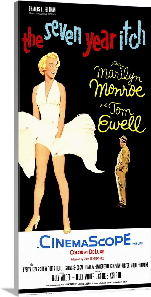 Large Gallery-Wrapped Canvas Wall Art Print 15 x 24 entitled The Seven Year Itch (1955) Gallery-Wrapped Canvas entitled The Seven Year Itch 1955.  Classic sexy Monroe comedy. Stunning blonde model who else moves upstairs just as happily married guy Ewells wife leaves for a long vacation. Understandably he gets itchy. Monroes famous blown skirt scene is here as well as funny situations and appealing performances.  Multiple sizes available.  Primary colors within this image include Red Yellow Peach White.  Made in the USA.  Satisfaction guaranteed.  Archival-quality UV-resistant inks.  Canvas is designed to prevent fading.  Museum-quality artist-grade canvas mounted on sturdy wooden stretcher bars 1.5 thick.  Comes ready to hang.