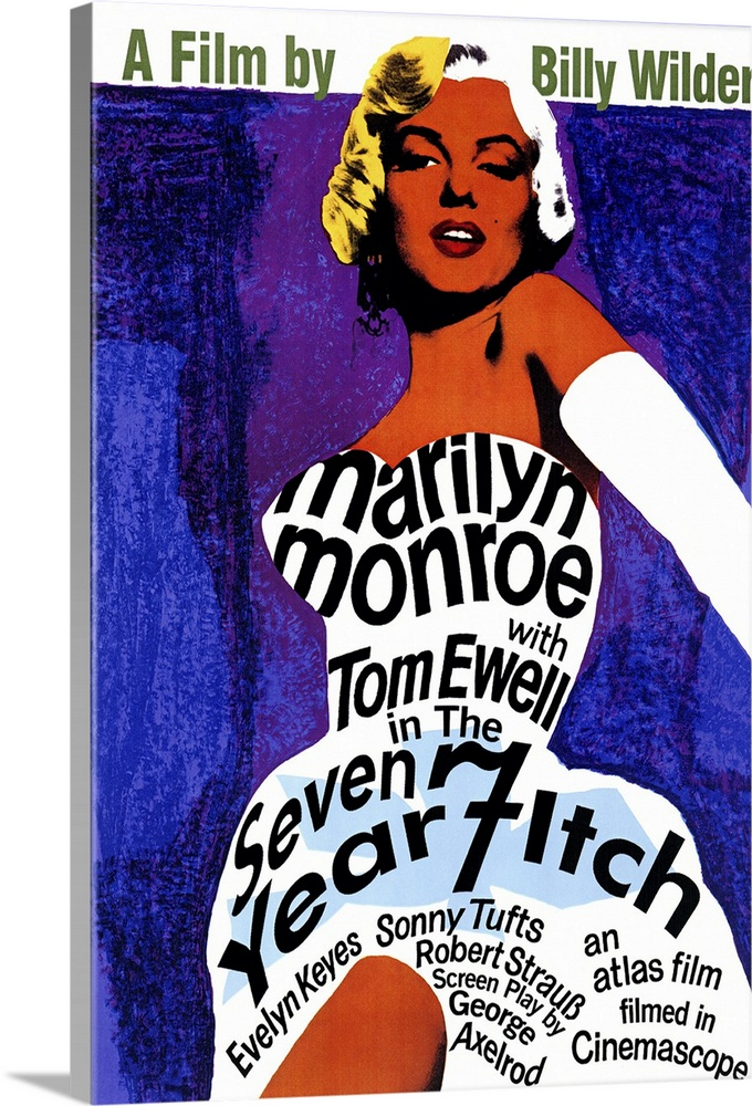 Large Gallery-Wrapped Canvas Wall Art Print 16 x 24 entitled The Seven Year Itch (1955) Gallery-Wrapped Canvas entitled The Seven Year Itch 1955.  Classic sexy Monroe comedy. Stunning blonde model who else moves upstairs just as happily married guy Ewells wife leaves for a long vacation. Understandably he gets itchy. Monroes famous blown skirt scene is here as well as funny situations and appealing performances.  Multiple sizes available.  Primary colors within this image include Orange Dark Blue Light Yellow Pale Blue.  Made in USA.  All products come with a 365 day workmanship guarantee.  Inks used are latex-based and designed to last.  Canvas is a 65 polyester 35 cotton base with two acrylic latex primer basecoats and a semi-gloss inkjet receptive topcoat.  Canvas is acid-free and 20 millimeters thick.