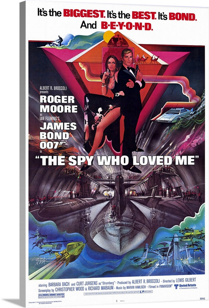 Large Solid-Faced Canvas Print Wall Art Print 20 x 30 entitled The Spy Who Loved Me (1977) Solid-Faced Canvas Print entitled The Spy Who Loved Me 1977.  James Bond teams up with female Russian Agent XXX to squash a villains plan to use captured American and Russian atomic submarines in a plot to destroy the world. The villains henchman, 72 Kiel, is the steel-toothed Jaws. Carly Simon sings the memorable, Marvin Hamlisch theme song, Nobody Does It Better.  Multiple sizes available.  Primary colors within this image include Orange, Dark Red, Black, White.  Made in the USA.  All products come with a 365 day workmanship guarantee.  Archival-quality UV-resistant inks.  Canvas depth is 1.25 and includes a finished backing with pre-installed hanging hardware.  Featuring a proprietary design, our canvases produce the tightest corners without any bubbles, ripples, or bumps and will not warp or sag over time.