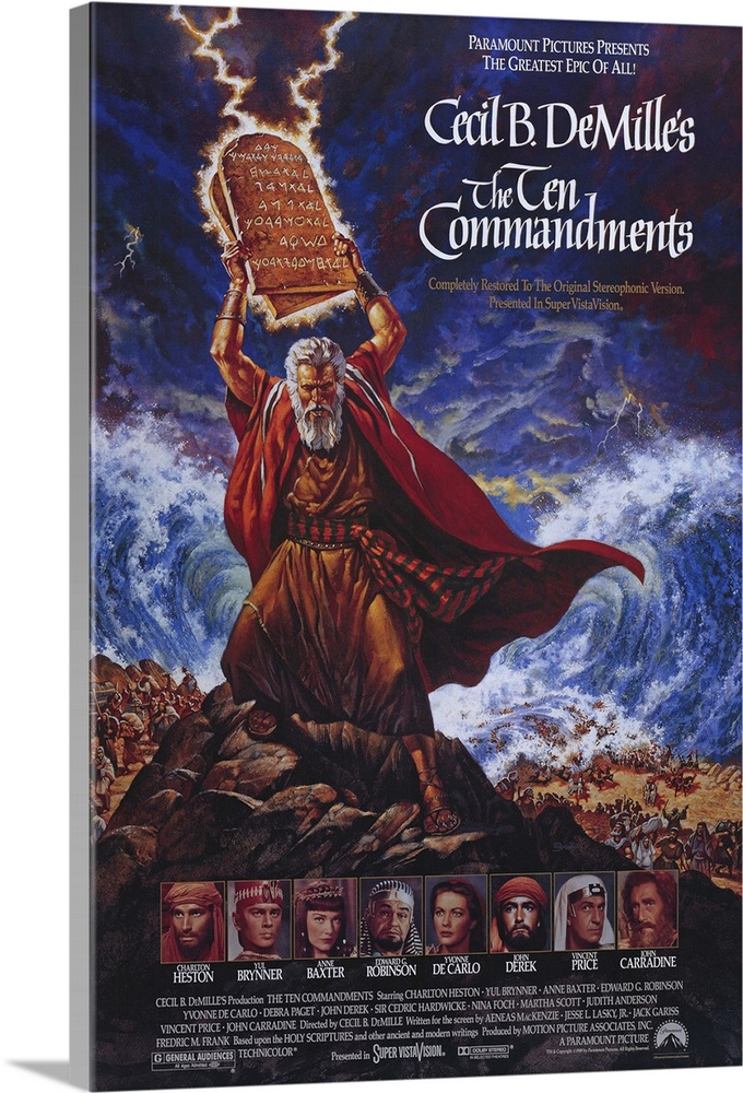Large Solid-Faced Canvas Print Wall Art Print 24 x 36 entitled The Ten Commandments (1956) Solid-Faced Canvas Print entitled The Ten Commandments 1956.  DeMilles remake of his 1923 silent classic and his last film is a lavish Biblical epic that tells the life story of Moses, who turned his back on a privileged life to lead his people to freedom outside of Egypt. Exceptional cast, with Fraser Heston son of Charlton as the baby Moses. Parting of Red Sea rivals any modern special effects. A 35th Anniversary Collectors Edition is available uncut at 245 minutes, in widescreen format and Dolby Surround stereo, and 1,000 copies of an Autographed Limited Edition that includes an engraved bronze plaque and an imprinted card written and personally signed by Charlton Heston are also available.  Multiple sizes available.  Primary colors within this image include Brown, Dark Gray, White, Muted Blue.  Made in USA.  Satisfaction guaranteed.  Archival-quality UV-resistant inks.  Featuring a proprietary design, our canvases produce the tightest corners without any bubbles, ripples, or bumps and will not warp or sag over time.  Canvas depth is 1.25 and includes a finished backing with pre-installed hanging hardware.