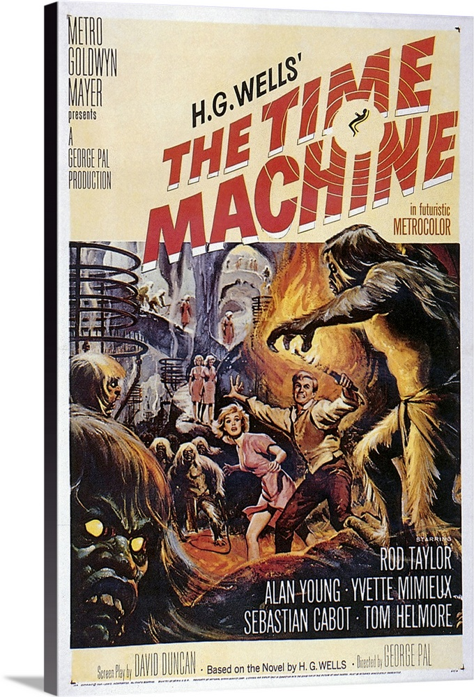 Large Solid-Faced Canvas Print Wall Art Print 20 x 30 entitled The Time Machine (1960) Solid-Faced Canvas Print entitled The Time Machine 1960.  English scientist living near the end of the 19th century invents time travel machine and uses it to travel into various periods of the future. Rollicking version of H.G. Wells classic cautionary tale boasts Oscar-winning special effects. Remade in 1978.  Multiple sizes available.  Primary colors within this image include Brown, Peach, Black, Gray.  Made in the USA.  Satisfaction guaranteed.  Archival-quality UV-resistant inks.  Featuring a proprietary design, our canvases produce the tightest corners without any bubbles, ripples, or bumps and will not warp or sag over time.  Canvas is handcrafted and made-to-order in the United States using high quality artist-grade canvas.