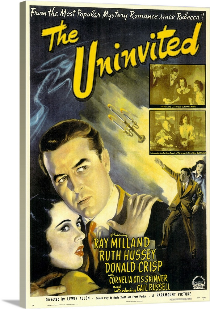 Large Solid-Faced Canvas Print Wall Art Print 20 x 30 entitled The Uninvited (1944) Solid-Faced Canvas Print entitled The Uninvited 1944.  Roderick Fitzgerald Milland and his sister Pamela Hussey buy a house in Cornwall, only to find it is haunted. Doors open and close by themselves, strange scents fill the air, and they hear sobbing during the night. Soon they are visited by a woman Russell with an odd link to the house--her mother is the spirit who haunts the house. Chilling and unforgettable, this is one of the first films to deal seriously with ghosts. Based on the novel by Dorothy Macardle.  Multiple sizes available.  Primary colors within this image include Yellow, Dark Yellow, White, Dark Forest Green.  Made in the USA.  Satisfaction guaranteed.  Archival-quality UV-resistant inks.  Archival inks prevent fading and preserve as much fine detail as possible with no over-saturation or color shifting.  Featuring a proprietary design, our canvases produce the tightest corners without any bubbles, ripples, or bumps and will not warp or sag over time.