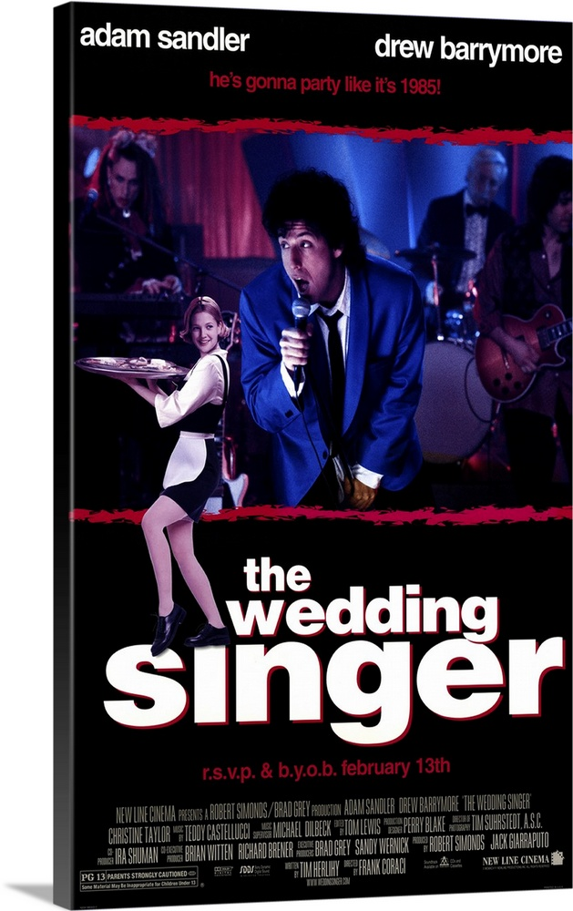 Large Gallery-Wrapped Canvas Wall Art Print 16 x 24 entitled The Wedding Singer (1997) Gallery-Wrapped Canvas entitled The Wedding Singer 1997.  Despite almost nonexistent pacing and a script full of holes Singer is an enjoyably goofy look at the mid 80s. Surprisingly toned-down and appealing Sandler is Robbie Hart wedding singer ultimate nice guy and rock-star wanna-be whos jilted at the altar. Waitress Barrymore is engaged to a skirt-chasing stock broker. Its immediately clear that they belong together and the rest of the movie is spent on them chasing each other through various contrived obstacles to the obvious ending. Features great cameos by punk-rocker Billy Idol Jon Lovitz as a rival wedding singer and Steve Buscemi excellent as the grooms jealous dad always liked you best brother. Musical highlight is Sandlers heartfelt rendition of the J. Geils Bands Love Stinks. Isnt it a little scary that were already spoofing the 80s.  Multiple sizes available.  Primary colors within this image include Fuschia Dark Blue Black White.  Made in USA.  All products come with a 365 day workmanship guarantee.  Archival-quality UV-resistant inks.  Museum-quality artist-grade canvas mounted on sturdy wooden stretcher bars 1.5 thick.  Comes ready to hang.  Canvases are stretched across a 1.5 inch thick wooden frame with easy-to-mount hanging hardware.