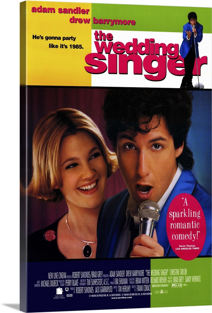 Large Gallery-Wrapped Canvas Wall Art Print 16 x 24 entitled The Wedding Singer (1997) Gallery-Wrapped Canvas entitled The Wedding Singer 1997.  Despite almost nonexistent pacing and a script full of holes Singer is an enjoyably goofy look at the mid 80s. Surprisingly toned-down and appealing Sandler is Robbie Hart wedding singer ultimate nice guy and rock-star wanna-be whos jilted at the altar. Waitress Barrymore is engaged to a skirt-chasing stock broker. Its immediately clear that they belong together and the rest of the movie is spent on them chasing each other through various contrived obstacles to the obvious ending. Features great cameos by punk-rocker Billy Idol Jon Lovitz as a rival wedding singer and Steve Buscemi excellent as the grooms jealous dad always liked you best brother. Musical highlight is Sandlers heartfelt rendition of the J. Geils Bands Love Stinks. Isnt it a little scary that were already spoofing the 80s.  Multiple sizes available.  Primary colors within this image include Yellow Fuschia Dark Gray White.  Made in USA.  Satisfaction guaranteed.  Archival-quality UV-resistant inks.  Canvas is designed to prevent fading.  Canvases have a UVB protection built in to protect against fading and moisture and are designed to last for over 100 years.