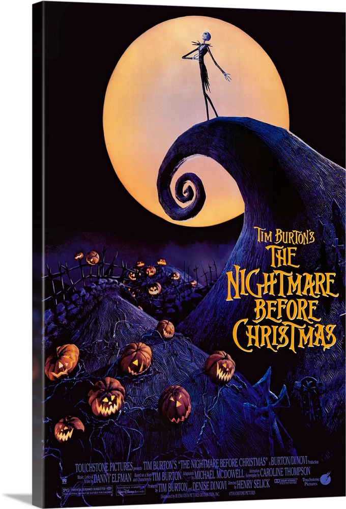 Large Gallery-Wrapped Canvas Wall Art Print 16 x 24 entitled Tim Burtons The Nightmare Before Christmas (1993) Gallery-Wrapped Canvas entitled Tim Burtons The Nightmare Before Christmas 1993.  Back when he was a animator trainee at Disney Burton came up with this adventurous idea but couldntt get it made subsequent directorial success brought more clout. Relies on a painstaking stop-motion technique that took more than two years to film and is justifiably amazing. The story revolv...  Multiple sizes available.  Primary colors within this image include Orange Peach Black Muted Blue.  Made in USA.  All products come with a 365 day workmanship guarantee.  Inks used are latex-based and designed to last.  Canvas is designed to prevent fading.  Canvases are stretched across a 1.5 inch thick wooden frame with easy-to-mount hanging hardware.