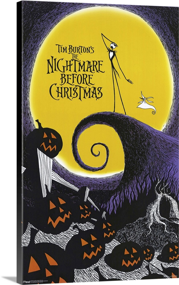 Large Gallery-Wrapped Canvas Wall Art Print 16 x 24 entitled Tim Burtons The Nightmare Before Christmas (1993) Gallery-Wrapped Canvas entitled Tim Burtons The Nightmare Before Christmas 1993.  Back when he was a animator trainee at Disney Burton came up with this adventurous idea but couldnt get it made subsequent directorial success brought more clout. Relies on a painstaking stop-motion technique that took more than two years to film and is justifiably amazing. The story revolves around Jack Skellington the Pumpkin King of the dangerously weird Halloweentown. Suffering from ennui he accidentally discovers the wonders of Christmastown and decides to kidnap Santa and rule over this peaceable holiday. Fast pace is maintained by the equally breathless score. Not cuddly best appreciated by those with a feel for the macabre.  Multiple sizes available.  Primary colors within this image include Yellow Brown Light Yellow Dark Gray.  Made in the USA.  Satisfaction guaranteed.  Inks used are latex-based and designed to last.  Canvas is acid-free and 20 millimeters thick.  Canvases have a UVB protection built in to protect against fading and moisture and are designed to last for over 100 years.