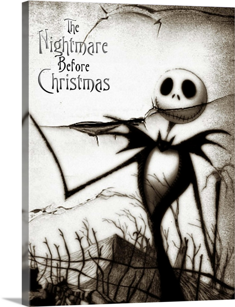Large Gallery-Wrapped Canvas Wall Art Print 17 x 24 entitled Tim Burtons The Nightmare Before Christmas (1993) Gallery-Wrapped Canvas entitled Tim Burtons The Nightmare Before Christmas 1993.  Back when he was a animator trainee at Disney Burton came up with this adventurous idea but couldnt get it made subsequent directorial success brought more clout. Relies on a painstaking stop-motion technique that took more than two years to film and is justifiably amazing. The story revolves around Jack Skellington the Pumpkin King of the dangerously weird Halloweentown. Suffering from ennui he accidentally discovers the wonders of Christmastown and decides to kidnap Santa and rule over this peaceable holiday. Fast pace is maintained by the equally breathless score. Not cuddly best appreciated by those with a feel for the macabre.  Multiple sizes available.  Primary colors within this image include Black Gray White.  Made in the USA.  All products come with a 365 day workmanship guarantee.  Inks used are latex-based and designed to last.  Canvas is acid-free and 20 millimeters thick.  Canvas frames are built with farmed or reclaimed domestic pine or poplar wood.