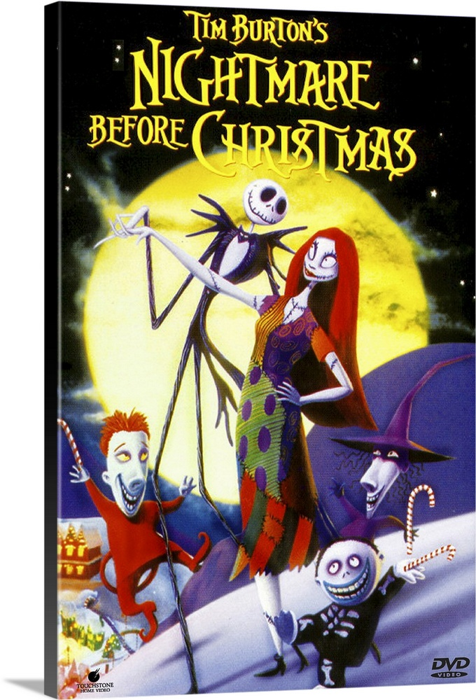 Large Gallery-Wrapped Canvas Wall Art Print 17 x 24 entitled Tim Burtons The Nightmare Before Christmas (1993) Gallery-Wrapped Canvas entitled Tim Burtons The Nightmare Before Christmas 1993.  Back when he was a animator trainee at Disney Burton came up with this adventurous idea but couldnt get it made subsequent directorial success brought more clout. Relies on a painstaking stop-motion technique that took more than two years to film and is justifiably amazing. The story revolves around Jack Skellington the Pumpkin King of the dangerously weird Halloweentown. Suffering from ennui he accidentally discovers the wonders of Christmastown and decides to kidnap Santa and rule over this peaceable holiday. Fast pace is maintained by the equally breathless score. Not cuddly best appreciated by those with a feel for the macabre.  Multiple sizes available.  Primary colors within this image include Red Yellow Dark Red White.  Made in USA.  Satisfaction guaranteed.  Inks used are latex-based and designed to last.  Canvas frames are built with farmed or reclaimed domestic pine or poplar wood.  Canvases are stretched across a 1.5 inch thick wooden frame with easy-to-mount hanging hardware.