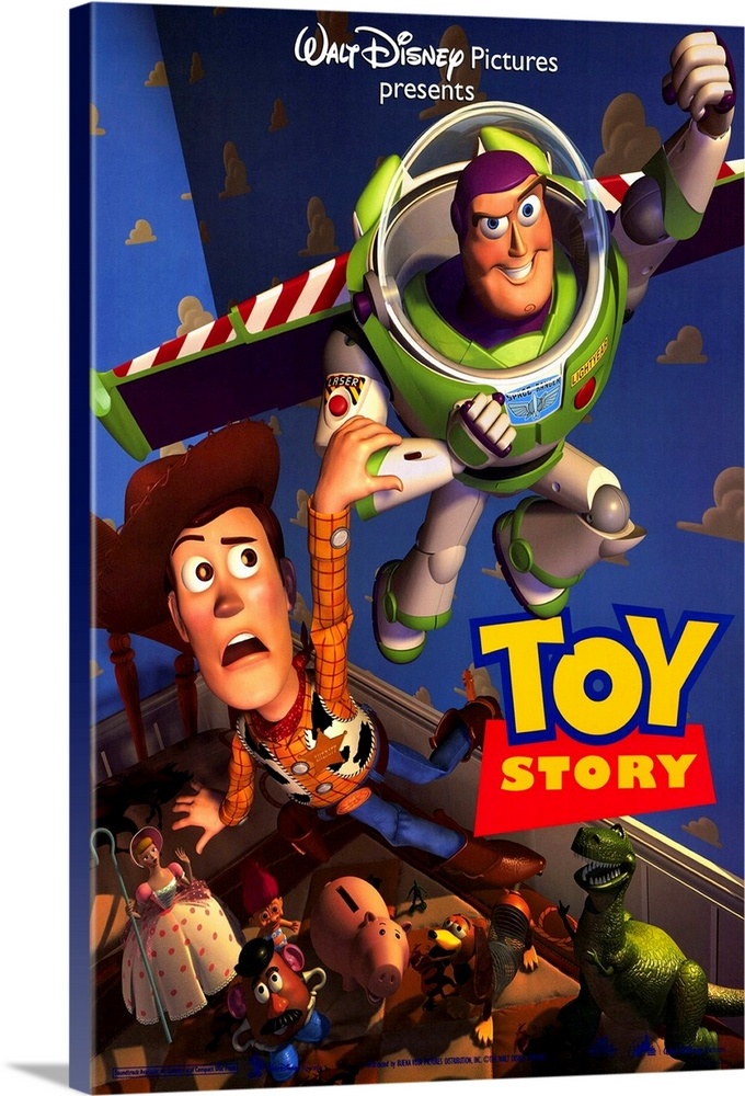 Large Solid-Faced Canvas Print Wall Art Print 20 x 30 entitled Toy Story (1995) Solid-Faced Canvas Print entitled Toy Story 1995.  Portrait, large movie poster of Toy Story.  Buzz lightyear flying through the air, Woody holding onto his arm, while the other toys in Andys room watch from below.  Walt Disney Pictures presents  at the top, Toy Story at the bottom.  Multiple sizes available.  Primary colors within this image include Red, Yellow, Dark Blue, Black.  Made in the USA.  All products come with a 365 day workmanship guarantee.  Inks used are latex-based and designed to last.  Canvas depth is 1.25 and includes a finished backing with pre-installed hanging hardware.  Featuring a proprietary design, our canvases produce the tightest corners without any bubbles, ripples, or bumps and will not warp or sag over time.