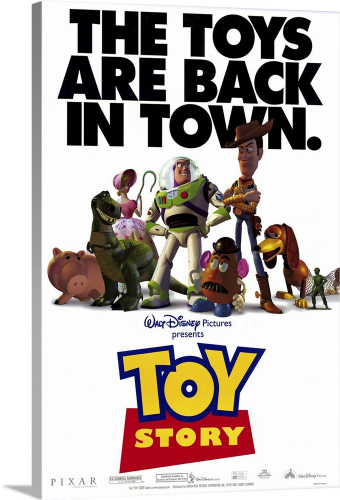 Large Solid-Faced Canvas Print Wall Art Print 20 x 30 entitled Toy Story (1995) Solid-Faced Canvas Print entitled Toy Story 1995.  Movie poster for Toy Story with all of the popular toys in the center of the poster and the text The toys are back in town written above.  Multiple sizes available.  Primary colors within this image include Dark Red, Dark Blue, Black, White.  Made in the USA.  All products come with a 365 day workmanship guarantee.  Archival-quality UV-resistant inks.  Archival inks prevent fading and preserve as much fine detail as possible with no over-saturation or color shifting.  Featuring a proprietary design, our canvases produce the tightest corners without any bubbles, ripples, or bumps and will not warp or sag over time.