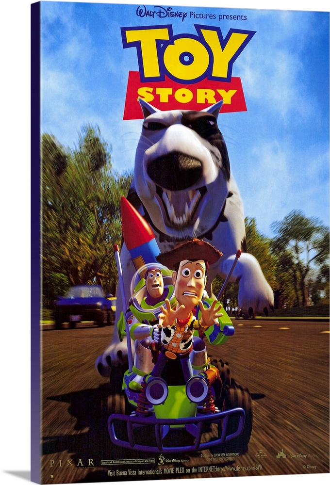 Large Solid-Faced Canvas Print Wall Art Print 20 x 30 entitled Toy Story (1995) Solid-Faced Canvas Print entitled Toy Story 1995.  First feature length, wholly computer animated film confirms what we suspected all along--toys do have lives of their own when were not around. Pull-string cowboy Woody Hanks, as favorite toy, presides over his fellow playthings in Andys room. Enter new toy on the block, Buzz Lightyear Allen, a space ranger action figure who thinks hes real. Jealous Woody and his delusional, high-tech companion soon find themselves in the outside world, where they must join forces to survive. Funny, intelligent script and voice characterizations that rival many live-action movies in depth and emotion. All this, and Don Rickles berating an actual hockey puck.  Multiple sizes available.  Primary colors within this image include Orange, Yellow, Sky Blue, Black.  Made in the USA.  Satisfaction guaranteed.  Archival-quality UV-resistant inks.  Canvas is handcrafted and made-to-order in the United States using high quality artist-grade canvas.  Canvas depth is 1.25 and includes a finished backing with pre-installed hanging hardware.