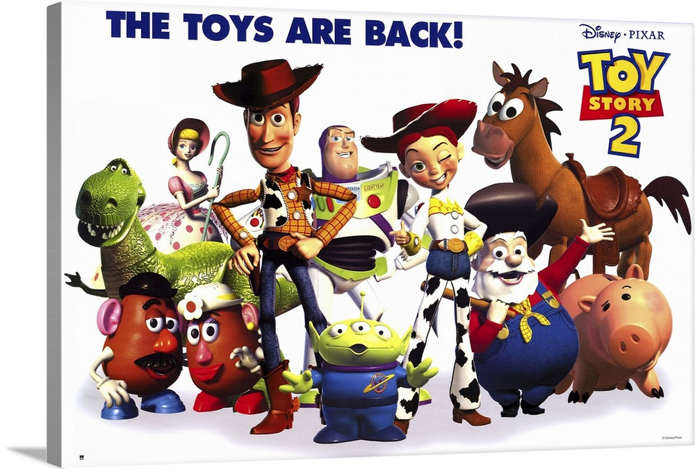 Large Solid-Faced Canvas Print Wall Art Print 30 x 20 entitled Toy Story 2 (2000) Solid-Faced Canvas Print entitled Toy Story 2 2000.  Woody is kidnapped by a greedy toy collector and finds out that he was the star of a popular 50s childrens show think Howdy Doody with a posse of his own. Buzz and the other denizens of Andys room set out to save him, and in the process meet up with Buzzs arch-nemesis Emperor Zurg. All of the original cast members return to their now-classic characters, and the plentiful new characters, in-jokes, and tributes to other movies keep this installment just as entertaining for kids and adults as the original was. This one actually has more depth than the first, dealing with issues such as mortality and the meaning of a toys life. Watch for the outtakes reel while the final credits roll.  Multiple sizes available.  Primary colors within this image include Dark Red, Plum, Light Yellow, White.  Made in USA.  All products come with a 365 day workmanship guarantee.  Inks used are latex-based and designed to last.  Featuring a proprietary design, our canvases produce the tightest corners without any bubbles, ripples, or bumps and will not warp or sag over time.  Canvas depth is 1.25 and includes a finished backing with pre-installed hanging hardware.