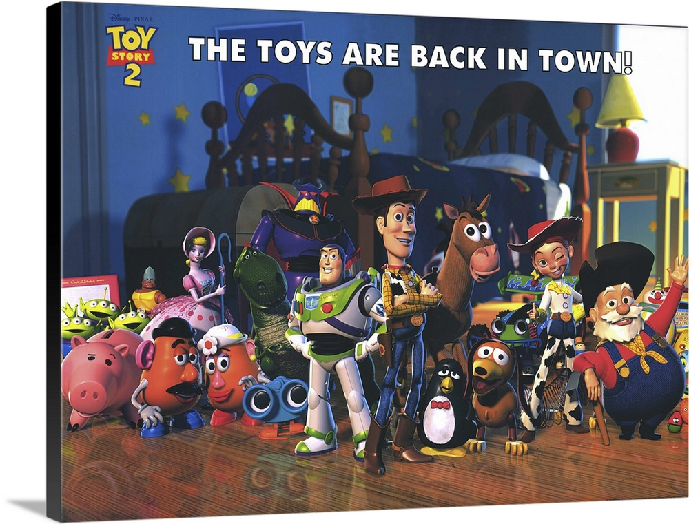 Large Solid-Faced Canvas Print Wall Art Print 40 x 30 entitled Toy Story 2 (2000) Solid-Faced Canvas Print entitled Toy Story 2 2000.  Woody is kidnapped by a greedy toy collector and finds out that he was the star of a popular 50s childrens show think Howdy Doody with a posse of his own. Buzz and the other denizens of Andys room set out to save him, and in the process meet up with Buzzs arch-nemesis Emperor Zurg. All of the original cast members return to their now-classic characters, and the plentiful new characters, in-jokes, and tributes to other movies keep this installment just as entertaining for kids and adults as the original was. This one actually has more depth than the first, dealing with issues such as mortality and the meaning of a toys life. Watch for the outtakes reel while the final credits roll.  Multiple sizes available.  Primary colors within this image include Light Yellow, Black, White, Muted Blue.  Made in USA.  Satisfaction guaranteed.  Archival-quality UV-resistant inks.  Featuring a proprietary design, our canvases produce the tightest corners without any bubbles, ripples, or bumps and will not warp or sag over time.  Canvas is handcrafted and made-to-order in the United States using high quality artist-grade canvas.