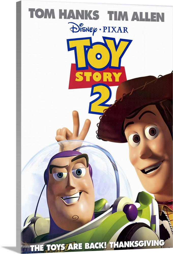 Large Solid-Faced Canvas Print Wall Art Print 20 x 30 entitled Toy Story 2 (2000) Solid-Faced Canvas Print entitled Toy Story 2 2000.  Woody is kidnapped by a greedy toy collector and finds out that he was the star of a popular 50s childrens show think Howdy Doody with a posse of his own. Buzz and the other denizens of Andys room set out to save him, and in the process meet up with Buzzs arch-nemesis Emperor Zurg. All of the original cast members return to their now-classic characters, and the plentiful new characters, in-jokes, and tributes to other movies keep this installment just as entertaining for kids and adults as the original was. This one actually has more depth than the first, dealing with issues such as mortality and the meaning of a toys life. Watch for the outtakes reel while the final credits roll.  Multiple sizes available.  Primary colors within this image include Dark Blue, Peach, Black, White.  Made in the USA.  All products come with a 365 day workmanship guarantee.  Inks used are latex-based and designed to last.  Canvas depth is 1.25 and includes a finished backing with pre-installed hanging hardware.  Featuring a proprietary design, our canvases produce the tightest corners without any bubbles, ripples, or bumps and will not warp or sag over time.