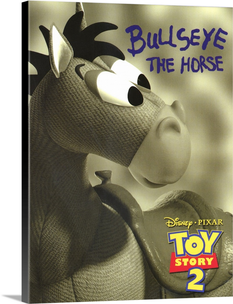 Large Solid-Faced Canvas Print Wall Art Print 30 x 40 entitled Toy Story 2 (2000) Solid-Faced Canvas Print entitled Toy Story 2 2000.  Woody is kidnapped by a greedy toy collector and finds out that he was the star of a popular 50s childrens show think Howdy Doody with a posse of his own. Buzz and the other denizens of Andys room set out to save him, and in the process meet up with Buzzs arch-nemesis Emperor Zurg. All of the original cast members return to their now-classic characters, and the plentiful new characters, in-jokes, and tributes to other movies keep this installment just as entertaining for kids and adults as the original was. This one actually has more depth than the first, dealing with issues such as mortality and the meaning of a toys life. Watch for the outtakes reel while the final credits roll.  Multiple sizes available.  Primary colors within this image include Peach, Light Yellow, White, Dark Forest Green.  Made in the USA.  All products come with a 365 day workmanship guarantee.  Inks used are latex-based and designed to last.  Canvas depth is 1.25 and includes a finished backing with pre-installed hanging hardware.  Archival inks prevent fading and preserve as much fine detail as possible with no over-saturation or color shifting.