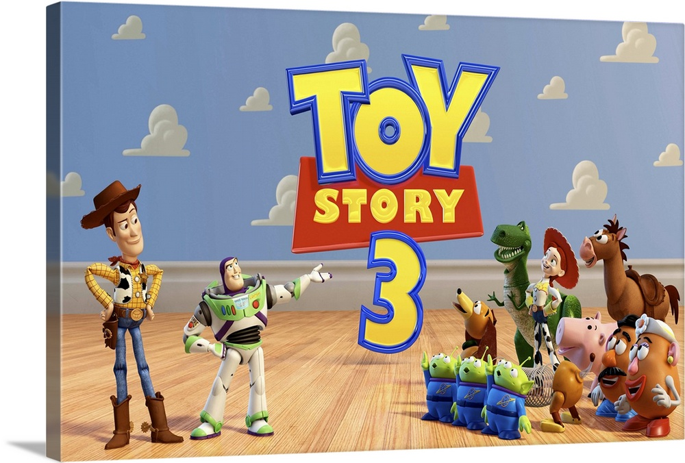 Large Solid-Faced Canvas Print Wall Art Print 30 x 20 entitled Toy Story 3 (2010) Solid-Faced Canvas Print entitled Toy Story 3 2010.  Woody, Buzz, and the rest of their toy-box friends are dumped in a day-care center after their owner, Andy, departs for college.  Multiple sizes available.  Primary colors within this image include Peach, Light Yellow, Dark Forest Green, Gray Blue.  Made in the USA.  Satisfaction guaranteed.  Inks used are latex-based and designed to last.  Canvas is handcrafted and made-to-order in the United States using high quality artist-grade canvas.  Featuring a proprietary design, our canvases produce the tightest corners without any bubbles, ripples, or bumps and will not warp or sag over time.