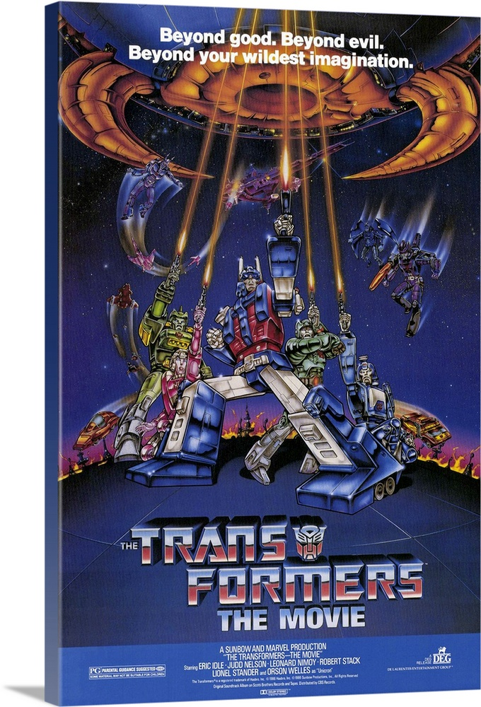 Large Solid-Faced Canvas Print Wall Art Print 20 x 30 entitled Transformers: The Movie (1986) Solid-Faced Canvas Print entitled Transformers The Movie 1986.  A full-length animated film featuring the universe-defending robots fighting the powers of evil. These robots began life as real toys, so theres some marketing going on.  Multiple sizes available.  Primary colors within this image include Brown, Black, White, Royal Blue.  Made in USA.  All products come with a 365 day workmanship guarantee.  Archival-quality UV-resistant inks.  Featuring a proprietary design, our canvases produce the tightest corners without any bubbles, ripples, or bumps and will not warp or sag over time.  Canvas is handcrafted and made-to-order in the United States using high quality artist-grade canvas.