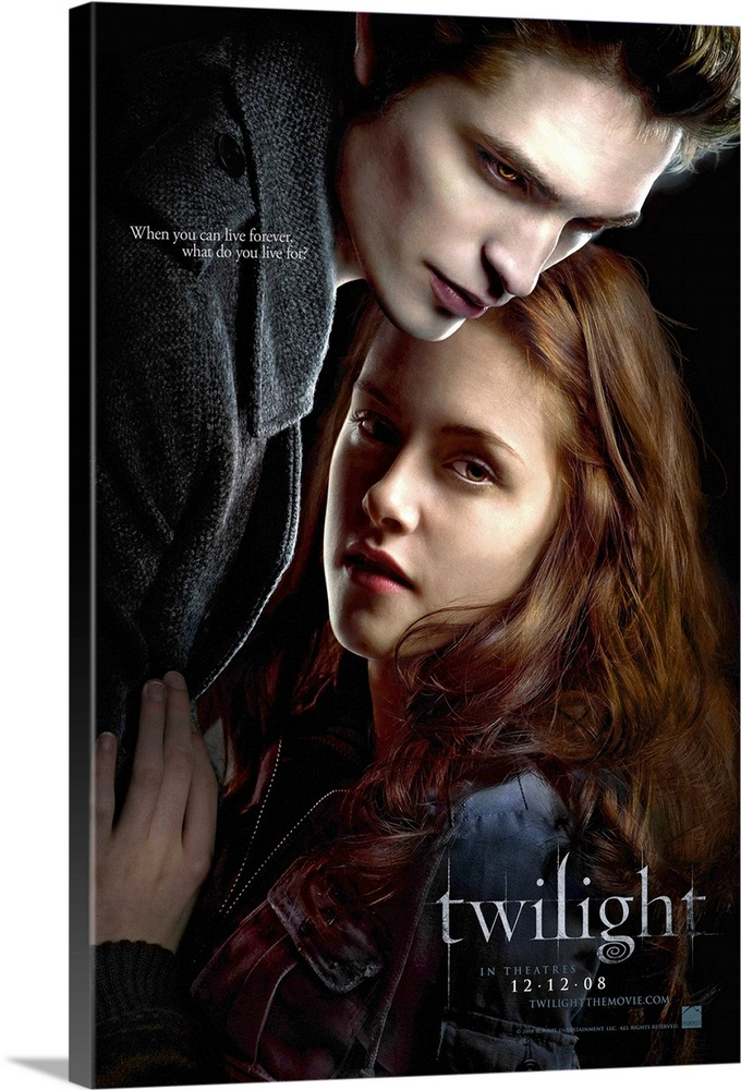 Large Gallery-Wrapped Canvas Wall Art Print 16 x 24 entitled Twilight (2008) Gallery-Wrapped Canvas entitled Twilight 2008.  Bella Swan has always been a little bit different. Never one to run with the crowd Bella never cared about fitting in with the trendy plastic girls at her Phoenix Arizona high school. When her mother remarried and Bella chooses to live with her father in the rainy little town of Forks Washington she didnt expect much of anything to change. But things do change when she meets the mysterious and dazzlingly beautiful Edward Cullen. For Edward is nothing like any boy shes ever met. Hes nothing like anyone shes ever met period. Hes intelligent and witty and he seems to see straight into her soul. In no time at all they are swept up in a passionate and decidedly unorthodox romance - unorthodox because Edward really isnt like the other boys. He can run faster than a mountain lion. He can stop a moving car with his bare hands. Oh and he hasnt aged since 1918. Like all vampires hes immortal. Thats right - vampire. But he doesnt have fangs - thats just in the movies. And he doesnt drink human blood though Edward and his family are unique among vampires in that lifestyle choice. To Edward Bella is that thing he has waited 90 years for - a soul mate. But the closer they get the more Edward must struggle to resist the primal pull of her scent which could send him into an uncontrollable frenzy. Somehow or other they will have to manage their unmanageable love. But when unexpected visitors come to town and realize that there is a human among them Edward must fight to save Bella A modern visual and visceral Romeo and Juliet story of the ultimate forbidden love affair - between vampire and mortal.  Multiple sizes available.  Primary colors within this image include Dark Gray Silver.  Made in the USA.  All products come with a 365 day workmanship guarantee.  Archival-quality UV-resistant inks.  Canvas is acid-free and 20 millimeters thick.  Canvas is designed t