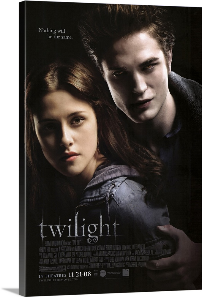 Large Gallery-Wrapped Canvas Wall Art Print 16 x 24 entitled Twilight (2008) Gallery-Wrapped Canvas entitled Twilight 2008.  Bella Swan has always been a little bit different. Never one to run with the crowd Bella never cared about fitting in with the trendy plastic girls at her Phoenix Arizona high school. When her mother remarried and Bella chooses to live with her father in the rainy little town of Forks Washington she didnt expect much of anything to change. But things do change when she meets the mysterious and dazzlingly beautiful Edward Cullen. For Edward is nothing like any boy shes ever met. Hes nothing like anyone shes ever met period. Hes intelligent and witty and he seems to see straight into her soul. In no time at all they are swept up in a passionate and decidedly unorthodox romance - unorthodox because Edward really isnt like the other boys. He can run faster than a mountain lion. He can stop a moving car with his bare hands. Oh and he hasnt aged since 1918. Like all vampires hes immortal. Thats right - vampire. But he doesnt have fangs - thats just in the movies. And he doesnt drink human blood though Edward and his family are unique among vampires in that lifestyle choice. To Edward Bella is that thing he has waited 90 years for - a soul mate. But the closer they get the more Edward must struggle to resist the primal pull of her scent which could send him into an uncontrollable frenzy. Somehow or other they will have to manage their unmanageable love. But when unexpected visitors come to town and realize that there is a human among them Edward must fight to save Bella A modern visual and visceral Romeo and Juliet story of the ultimate forbidden love affair - between vampire and mortal.  Multiple sizes available.  Primary colors within this image include Black Gray Silver.  Made in the USA.  Satisfaction guaranteed.  Archival-quality UV-resistant inks.  Canvas is designed to prevent fading.  Canvas is a 65 polyester 35 cotton base with two acrylic l