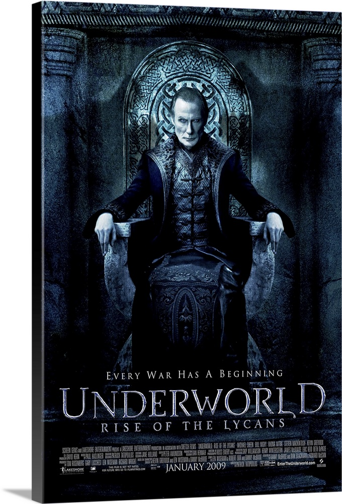 Large Solid-Faced Canvas Print Wall Art Print 24 x 36 entitled Underworld 3: Rise of the Lycans (2009) Solid-Faced Canvas Print entitled Underworld 3 Rise of the Lycans 2009.  The prequel story traces the origins of the centuries-old blood feud between the aristocratic vampires known as Death Dealers and their onetime slaves, the Lycans. In the Dark Ages, a young Lycan named Lucian Sheen emerges as a powerful leader who rallies the werewolves to rise up against Viktor Nighy, the cruel vampire king who has enslaved them. Lucian is joined by his secret lover, Sonja Mitra, in his battle against the Death Dealer army and his struggle for Lycan freedom.  Multiple sizes available.  Primary colors within this image include Black, Gray, Silver.  Made in USA.  All products come with a 365 day workmanship guarantee.  Inks used are latex-based and designed to last.  Featuring a proprietary design, our canvases produce the tightest corners without any bubbles, ripples, or bumps and will not warp or sag over time.  Canvas depth is 1.25 and includes a finished backing with pre-installed hanging hardware.