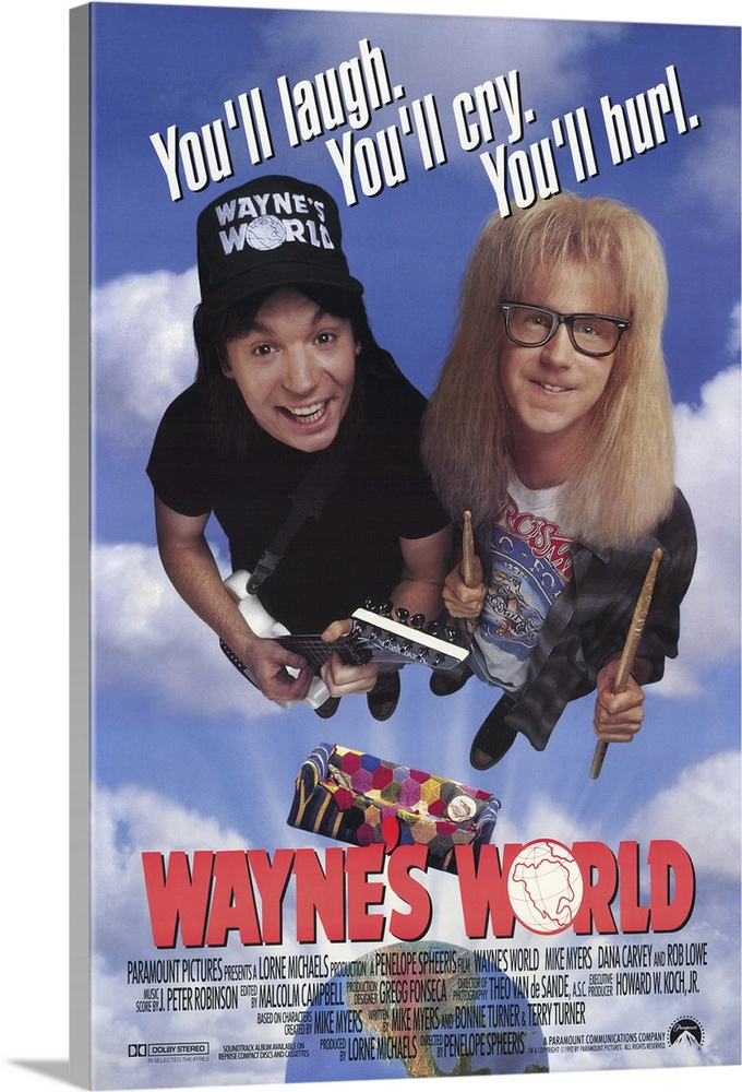 Large Gallery-Wrapped Canvas Wall Art Print 20 x 30 entitled Waynes World (1992) Gallery-Wrapped Canvas entitled Waynes World 1992.  Destined to become one of the top movies of all time--Not This Saturday Night Live skit proved to be so popular that it got its own movie, not unlike the plot, which has slimy producer Benjamin Oliver Lowe take the public access Waynes World into the world of commercial television. The zany duo of Wayne Myers and Garth Carvey are as much fun on the big screen as they were on SNL and there are many funny moments, several of which are destined to become comedy classics. A huge boxoffice hit that spawned a sequel. It also spawned Lorne Michaelss desperate attempts to match its success with other non-bigscreen worthy skits from the show.  Multiple sizes available.  Primary colors within this image include Pink, Dark Gray, Muted Blue, Pale Blue.  Made in USA.  All products come with a 365 day workmanship guarantee.  Archival-quality UV-resistant inks.  Canvas is acid-free and 20 millimeters thick.  Canvas is a 65 polyester, 35 cotton base, with two acrylic latex primer basecoats and a semi-gloss inkjet receptive topcoat.