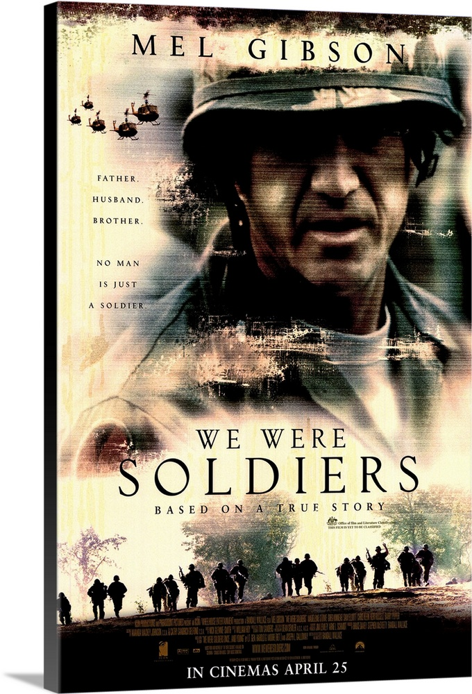 Large Solid-Faced Canvas Print Wall Art Print 20 x 30 entitled We Were Soldiers (2002) Solid-Faced Canvas Print entitled We Were Soldiers 2002.  Writer-director Wallace once again tackles the fact-based miltary epic, with outstanding results. Recounting the battle of the Ia Drang Valley in 1965, the first major land battle for U.S. troops in Vietnam, the story focuses on Lt. Col. Hal Moore Gibson and his leadership of the 7th Air Cavalry at LZ X-Ray. Moores combination of experience, leadership, instinct, knowledge, and genuine concern for his men make him seem too good to be true, but Gibsons portrayal, and the fact that Moore is real, help to erase disbelief. Inevitable comparisons with Black Hawk Down are justified, as both pics deal with chaotic battlefields and the heroism of the soldiers who must fight their way out of situations they were trained, but not quite prepared, for. But this movie goes beyond the battle to show the impact to families back home, as well as giving a glimpe of the mindset of the enemy. Elliot stands out as Moores right-hand man, as does Pepper as reporter Galloway, while Stein, Russell, and Kinnear do well playing against type. Based on the book We Were Soldiers Once...and Young by Lt. Gen. Harold G. Moore Ret. and Joseph L. Galloway.  Multiple sizes available.  Primary colors within this image include Black, Gray, White.  Made in the USA.  All products come with a 365 day workmanship guarantee.  Inks used are latex-based and designed to last.  Featuring a proprietary design, our canvases produce the tightest corners without any bubbles, ripples, or bumps and will not warp or sag over time.  Canvas depth is 1.25 and includes a finished backing with pre-installed hanging hardware.