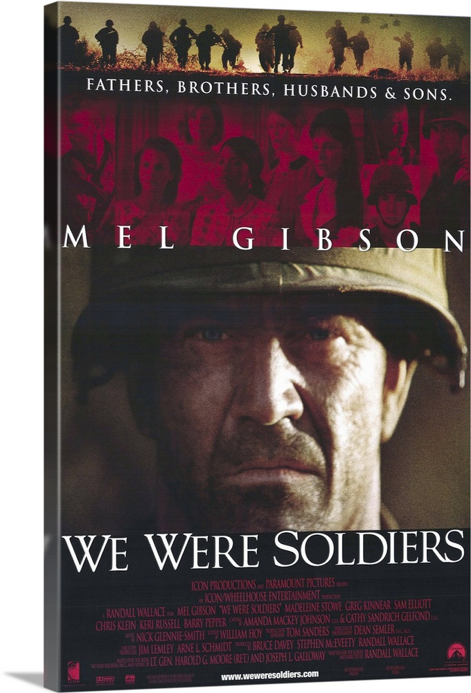 Large Solid-Faced Canvas Print Wall Art Print 20 x 30 entitled We Were Soldiers (2002) Solid-Faced Canvas Print entitled We Were Soldiers 2002.  Writer-director Wallace once again tackles the fact-based miltary epic, with outstanding results. Recounting the battle of the Ia Drang Valley in 1965, the first major land battle for U.S. troops in Vietnam, the story focuses on Lt. Col. Hal Moore Gibson and his leadership of the 7th Air Cavalry at LZ X-Ray. Moores combination of experience, leadership, instinct, knowledge, and genuine concern for his men make him seem too good to be true, but Gibsons portrayal, and the fact that Moore is real, help to erase disbelief. Inevitable comparisons with Black Hawk Down are justified, as both pics deal with chaotic battlefields and the heroism of the soldiers who must fight their way out of situations they were trained, but not quite prepared, for. But this movie goes beyond the battle to show the impact to families back home, as well as giving a glimpe of the mindset of the enemy. Elliot stands out as Moores right-hand man, as does Pepper as reporter Galloway, while Stein, Russell, and Kinnear do well playing against type. Based on the book We Were Soldiers Once...and Young by Lt. Gen. Harold G. Moore Ret. and Joseph L. Galloway.  Multiple sizes available.  Primary colors within this image include Plum, Peach, Dark Gray, White.  Made in the USA.  Satisfaction guaranteed.  Archival-quality UV-resistant inks.  Archival inks prevent fading and preserve as much fine detail as possible with no over-saturation or color shifting.  Canvas depth is 1.25 and includes a finished backing with pre-installed hanging hardware.