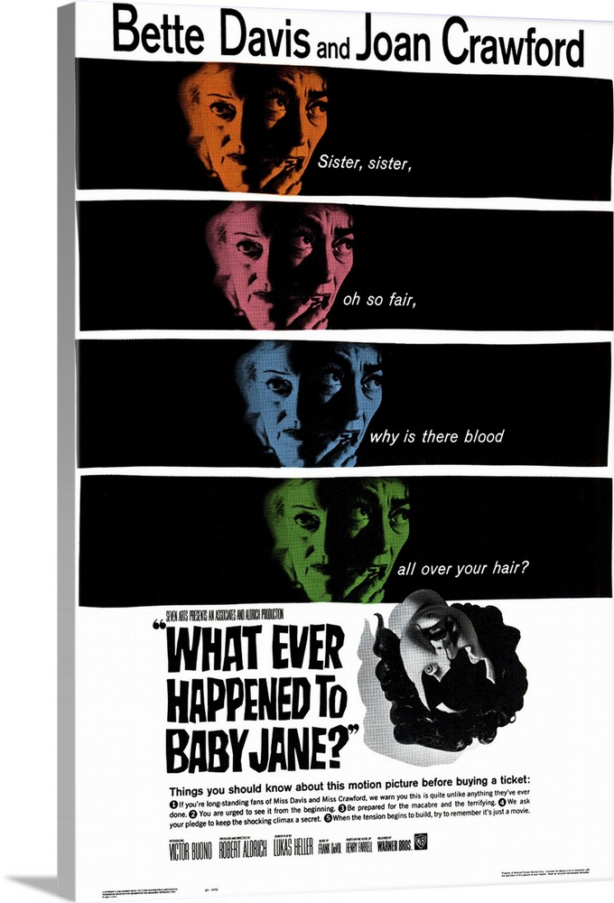 Large Solid-Faced Canvas Print Wall Art Print 20 x 30 entitled Whatever Happened to Baby Jane? (1962) Solid-Faced Canvas Print entitled Whatever Happened to Baby Jane 1962.  Davis and Crawford portray aging sisters and former child stars living together in a decaying mansion. When the demented Jane Davis learns of her now-crippled sisters Crawford plan to institutionalize her, she tortures the wheelchair-bound sis. Davis plays her part to the hilt, unafraid of Aldrichs unsympathetic camera, and the viciousness of her character. She received her 10th Oscar nomination for the role.  Multiple sizes available.  Primary colors within this image include Brown, Black, White, Dark Forest Green.  Made in the USA.  All products come with a 365 day workmanship guarantee.  Inks used are latex-based and designed to last.  Archival inks prevent fading and preserve as much fine detail as possible with no over-saturation or color shifting.  Featuring a proprietary design, our canvases produce the tightest corners without any bubbles, ripples, or bumps and will not warp or sag over time.