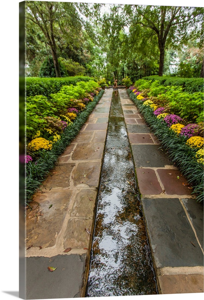 Large Gallery-Wrapped Canvas Wall Art Print 16 x 24 entitled Bellingrath Museum Home, a garden path and water course Gallery-Wrapped Canvas entitled Bellingrath Museum Home a garden path and water course.  Bellingrath Garden and Home.  Multiple sizes available.  Primary colors within this image include Dark Yellow Gray White Dark Forest Green.  Made in USA.  Satisfaction guaranteed.  Archival-quality UV-resistant inks.  Canvases are stretched across a 1.5 inch thick wooden frame with easy-to-mount hanging hardware.  Canvases have a UVB protection built in to protect against fading and moisture and are designed to last for over 100 years.