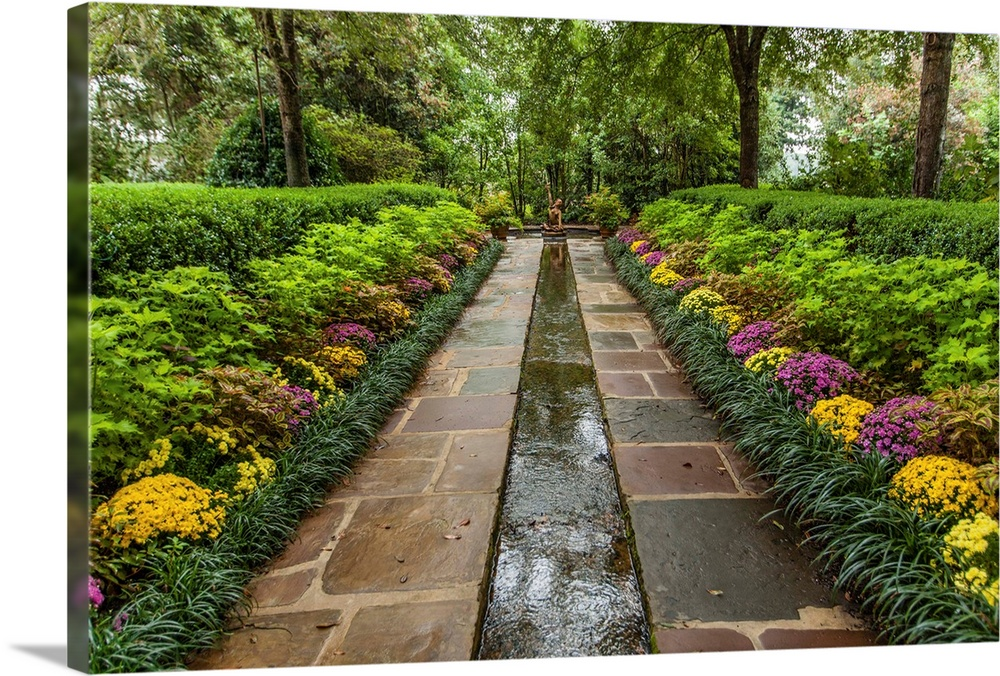 Large Gallery-Wrapped Canvas Wall Art Print 24 x 16 entitled Bellingrath Museum Home, a garden path and water course Gallery-Wrapped Canvas entitled Bellingrath Museum Home a garden path and water course.  Bellingrath Garden and Home a garden path and water course.  Multiple sizes available.  Primary colors within this image include Light Gray Muted Blue Dark Forest Green Lime Green.  Made in the USA.  Satisfaction guaranteed.  Archival-quality UV-resistant inks.  Canvas is a 65 polyester 35 cotton base with two acrylic latex primer basecoats and a semi-gloss inkjet receptive topcoat.  Canvases are stretched across a 1.5 inch thick wooden frame with easy-to-mount hanging hardware.