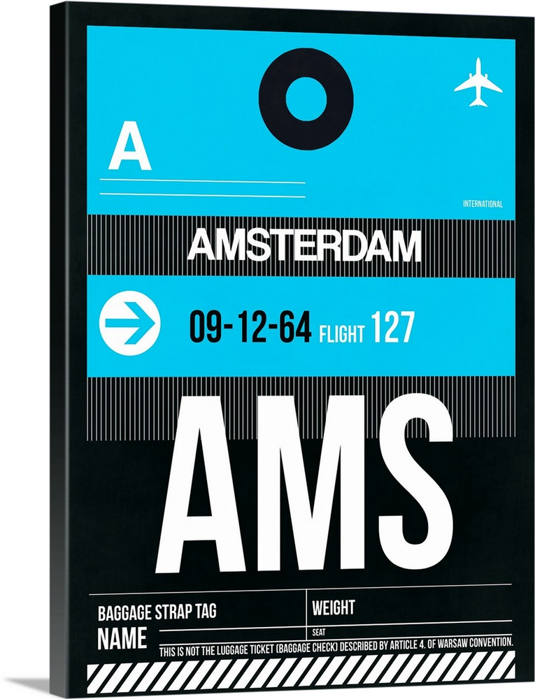 Large Solid-Faced Canvas Print Wall Art Print 30 x 40 entitled AMS Amsterdam Luggage Tag I Solid-Faced Canvas Print entitled AMS Amsterdam Luggage Tag I.  Multiple sizes available.  Primary colors within this image include Black, Gray, White, Teal.  Made in the USA.  Satisfaction guaranteed.  Archival-quality UV-resistant inks.  Canvas is handcrafted and made-to-order in the United States using high quality artist-grade canvas.  Featuring a proprietary design, our canvases produce the tightest corners without any bubbles, ripples, or bumps and will not warp or sag over time.