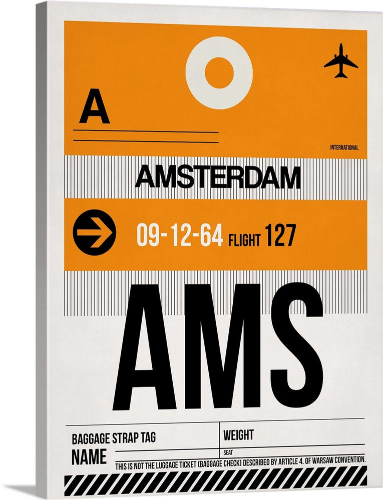 Large Solid-Faced Canvas Print Wall Art Print 30 x 40 entitled AMS Amsterdam Luggage Tag II Solid-Faced Canvas Print entitled AMS Amsterdam Luggage Tag II.  Multiple sizes available.  Primary colors within this image include Orange, Black, Gray, White.  Made in USA.  All products come with a 365 day workmanship guarantee.  Archival-quality UV-resistant inks.  Canvas is handcrafted and made-to-order in the United States using high quality artist-grade canvas.  Featuring a proprietary design, our canvases produce the tightest corners without any bubbles, ripples, or bumps and will not warp or sag over time.