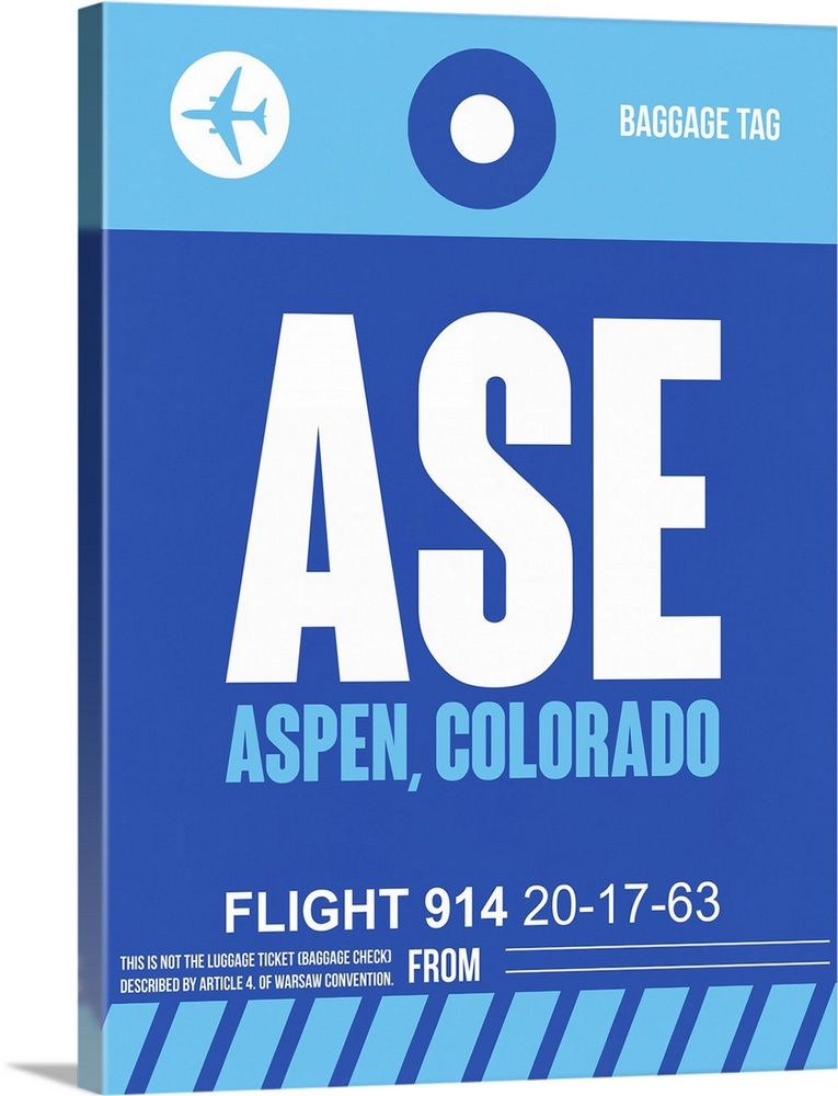 Large Solid-Faced Canvas Print Wall Art Print 30 x 40 entitled ASE Aspen Luggage Tag II Solid-Faced Canvas Print entitled ASE Aspen Luggage Tag II.  Multiple sizes available.  Primary colors within this image include Sky Blue, Black, Royal Blue.  Made in the USA.  All products come with a 365 day workmanship guarantee.  Inks used are latex-based and designed to last.  Archival inks prevent fading and preserve as much fine detail as possible with no over-saturation or color shifting.  Featuring a proprietary design, our canvases produce the tightest corners without any bubbles, ripples, or bumps and will not warp or sag over time.