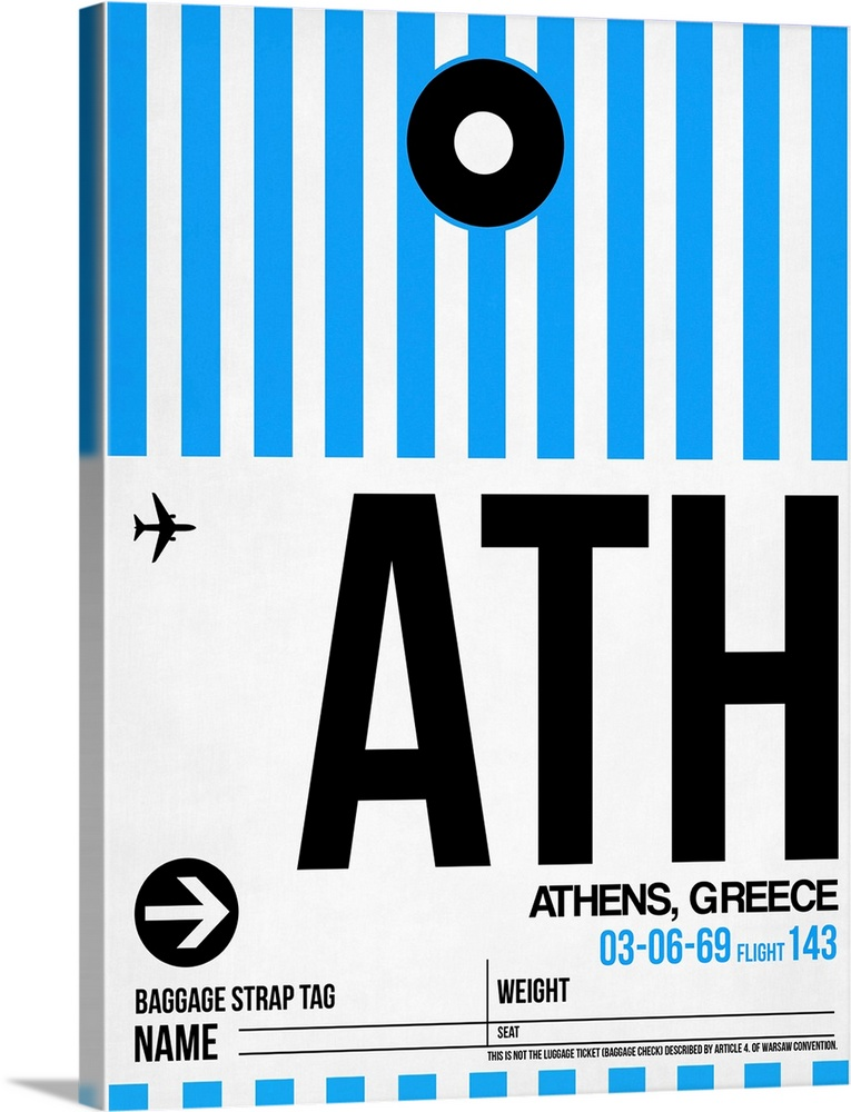 Large Solid-Faced Canvas Print Wall Art Print 30 x 40 entitled ATH Athens Luggage Tag I Solid-Faced Canvas Print entitled ATH Athens Luggage Tag I.  Multiple sizes available.  Primary colors within this image include Black, White, Royal Blue.  Made in USA.  Satisfaction guaranteed.  Inks used are latex-based and designed to last.  Canvas is handcrafted and made-to-order in the United States using high quality artist-grade canvas.  Canvas depth is 1.25 and includes a finished backing with pre-installed hanging hardware.