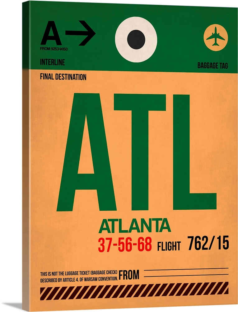 Large Solid-Faced Canvas Print Wall Art Print 30 x 40 entitled ATL Atlanta Luggage Tag I Solid-Faced Canvas Print entitled ATL Atlanta Luggage Tag I.  Multiple sizes available.  Primary colors within this image include Red, Forest Green, Peach, Black.  Made in the USA.  All products come with a 365 day workmanship guarantee.  Inks used are latex-based and designed to last.  Featuring a proprietary design, our canvases produce the tightest corners without any bubbles, ripples, or bumps and will not warp or sag over time.  Archival inks prevent fading and preserve as much fine detail as possible with no over-saturation or color shifting.