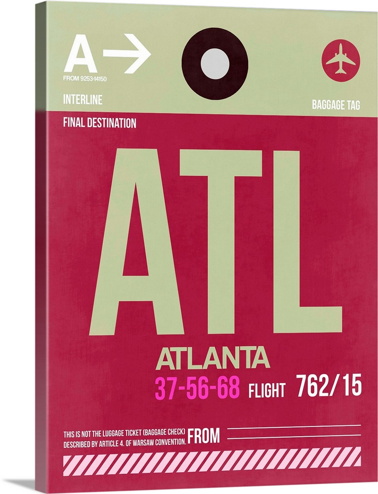 Large Solid-Faced Canvas Print Wall Art Print 30 x 40 entitled ATL Atlanta Luggage Tag II Solid-Faced Canvas Print entitled ATL Atlanta Luggage Tag II.  Multiple sizes available.  Primary colors within this image include Plum, Black, White.  Made in the USA.  Satisfaction guaranteed.  Archival-quality UV-resistant inks.  Featuring a proprietary design, our canvases produce the tightest corners without any bubbles, ripples, or bumps and will not warp or sag over time.  Canvas is handcrafted and made-to-order in the United States using high quality artist-grade canvas.