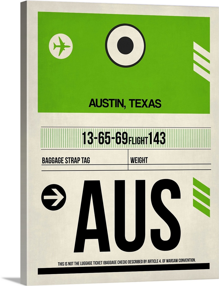 Large Solid-Faced Canvas Print Wall Art Print 30 x 40 entitled AUS Austin Luggage Tag I Solid-Faced Canvas Print entitled AUS Austin Luggage Tag I.  Multiple sizes available.  Primary colors within this image include Forest Green, Black, White, Lime Green.  Made in USA.  Satisfaction guaranteed.  Inks used are latex-based and designed to last.  Archival inks prevent fading and preserve as much fine detail as possible with no over-saturation or color shifting.  Featuring a proprietary design, our canvases produce the tightest corners without any bubbles, ripples, or bumps and will not warp or sag over time.