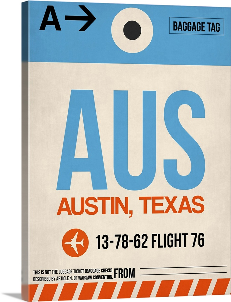 Large Solid-Faced Canvas Print Wall Art Print 30 x 40 entitled AUS Austin Luggage Tag I Solid-Faced Canvas Print entitled AUS Austin Luggage Tag I.  Multiple sizes available.  Primary colors within this image include Orange, White, Gray Blue, Dark Navy Blue.  Made in USA.  All products come with a 365 day workmanship guarantee.  Archival-quality UV-resistant inks.  Canvas depth is 1.25 and includes a finished backing with pre-installed hanging hardware.  Archival inks prevent fading and preserve as much fine detail as possible with no over-saturation or color shifting.