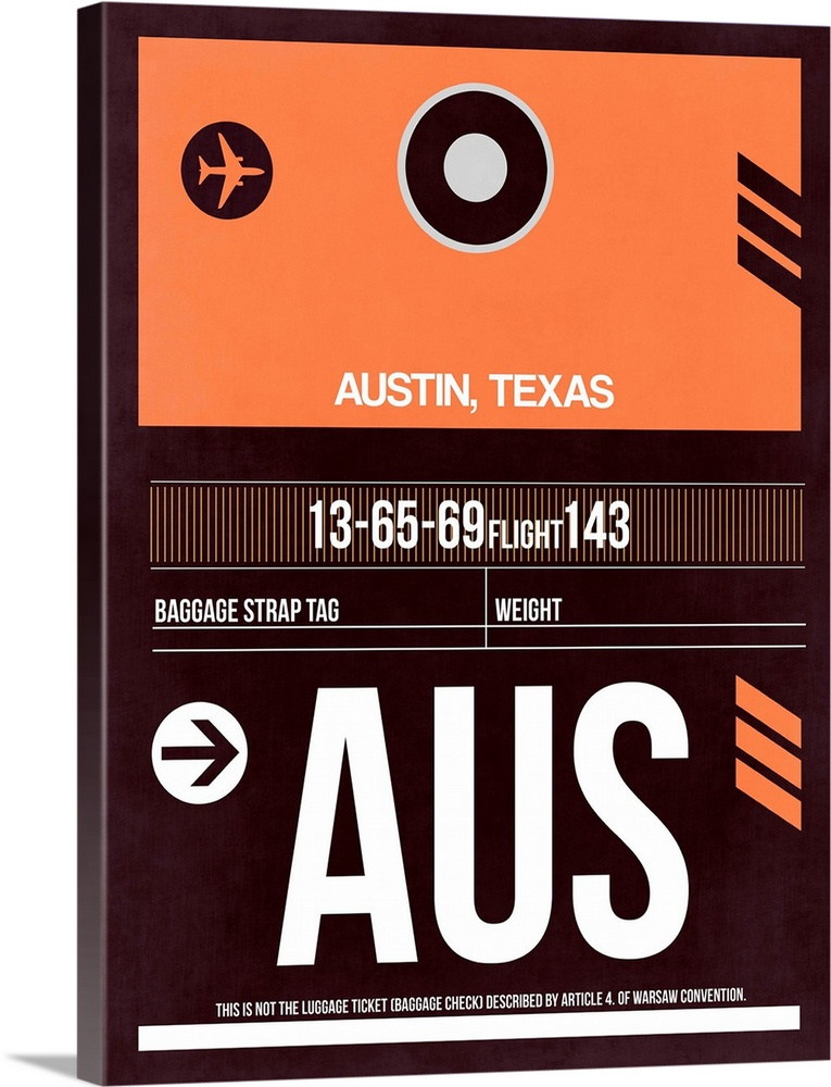 Large Solid-Faced Canvas Print Wall Art Print 30 x 40 entitled AUS Austin Luggage Tag II Solid-Faced Canvas Print entitled AUS Austin Luggage Tag II.  Multiple sizes available.  Primary colors within this image include Orange, Black, Gray, White.  Made in the USA.  All products come with a 365 day workmanship guarantee.  Inks used are latex-based and designed to last.  Featuring a proprietary design, our canvases produce the tightest corners without any bubbles, ripples, or bumps and will not warp or sag over time.  Canvas depth is 1.25 and includes a finished backing with pre-installed hanging hardware.