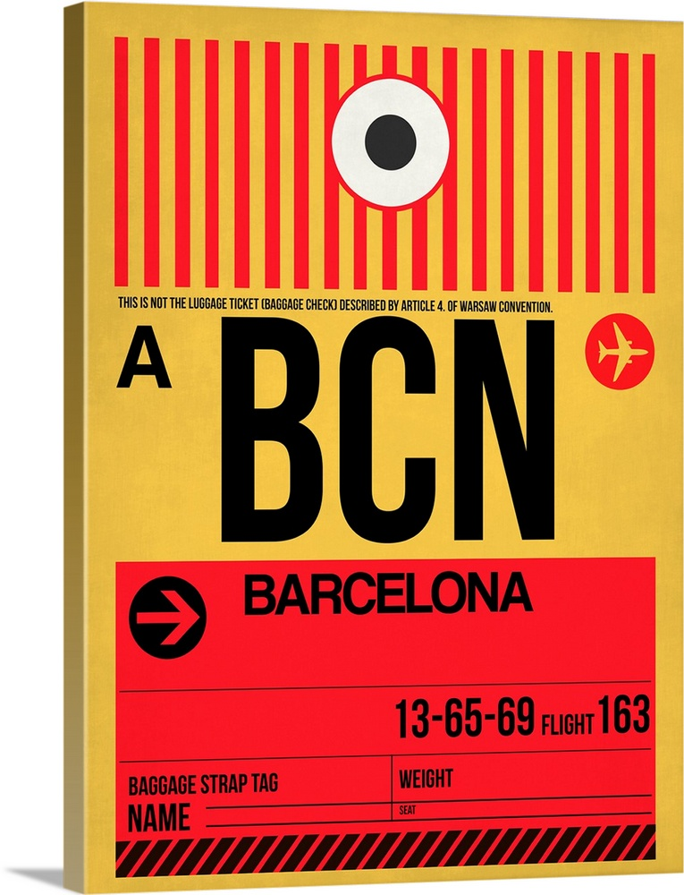 Large Solid-Faced Canvas Print Wall Art Print 30 x 40 entitled BCN Barcelona Luggage Tag I Solid-Faced Canvas Print entitled BCN Barcelona Luggage Tag I.  Multiple sizes available.  Primary colors within this image include Red, Light Yellow, Black, White.  Made in USA.  Satisfaction guaranteed.  Archival-quality UV-resistant inks.  Canvas is handcrafted and made-to-order in the United States using high quality artist-grade canvas.  Archival inks prevent fading and preserve as much fine detail as possible with no over-saturation or color shifting.
