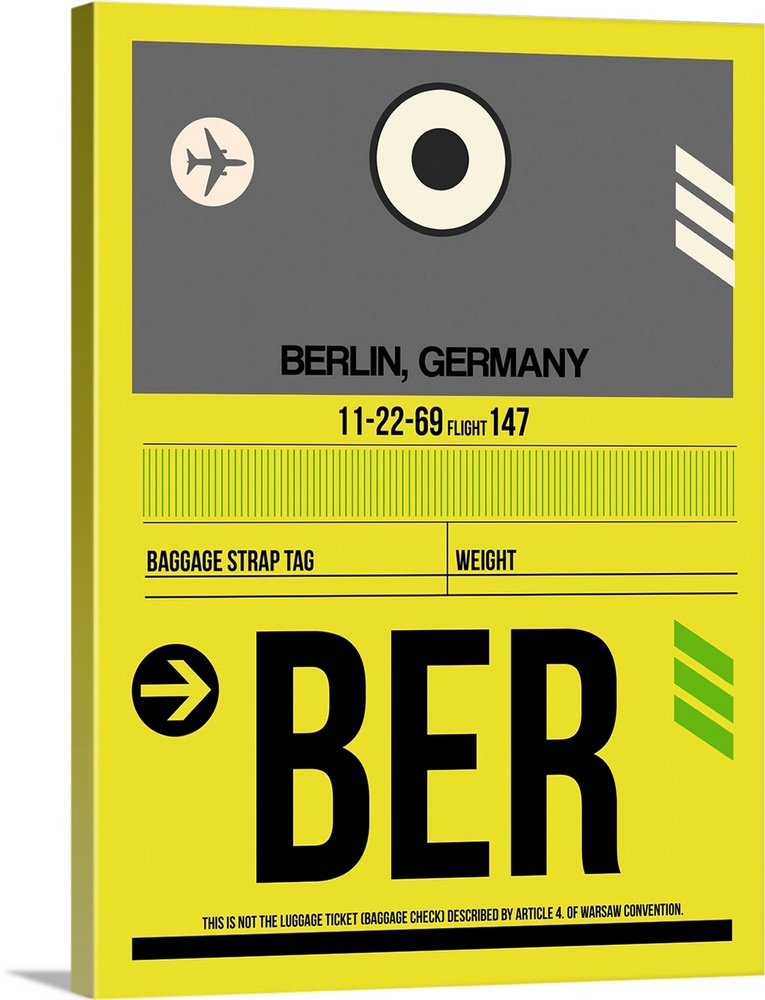 Large Solid-Faced Canvas Print Wall Art Print 30 x 40 entitled BER Berlin Luggage Tag I Solid-Faced Canvas Print entitled BER Berlin Luggage Tag I.  Multiple sizes available.  Primary colors within this image include Yellow, Gray, White, Lime Green.  Made in USA.  All products come with a 365 day workmanship guarantee.  Inks used are latex-based and designed to last.  Canvas is handcrafted and made-to-order in the United States using high quality artist-grade canvas.  Canvas depth is 1.25 and includes a finished backing with pre-installed hanging hardware.
