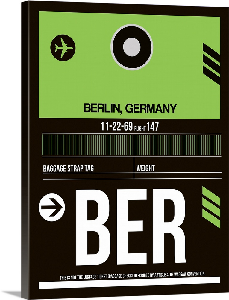 Large Solid-Faced Canvas Print Wall Art Print 30 x 40 entitled BER Berlin Luggage Tag II Solid-Faced Canvas Print entitled BER Berlin Luggage Tag II.  Multiple sizes available.  Primary colors within this image include Black, White, Lime Green.  Made in the USA.  Satisfaction guaranteed.  Inks used are latex-based and designed to last.  Canvas depth is 1.25 and includes a finished backing with pre-installed hanging hardware.  Featuring a proprietary design, our canvases produce the tightest corners without any bubbles, ripples, or bumps and will not warp or sag over time.