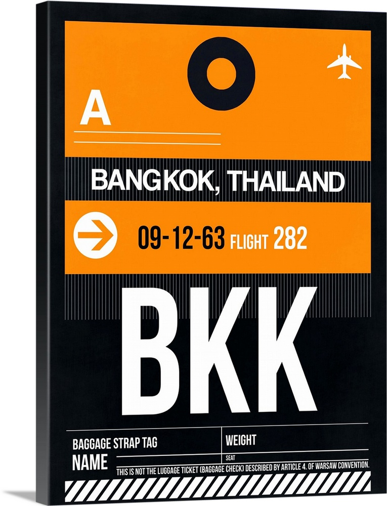 Large Solid-Faced Canvas Print Wall Art Print 30 x 40 entitled BKK Bangkok Luggage Tag I Solid-Faced Canvas Print entitled BKK Bangkok Luggage Tag I.  Multiple sizes available.  Primary colors within this image include Orange, Black, Gray, White.  Made in USA.  Satisfaction guaranteed.  Inks used are latex-based and designed to last.  Archival inks prevent fading and preserve as much fine detail as possible with no over-saturation or color shifting.  Featuring a proprietary design, our canvases produce the tightest corners without any bubbles, ripples, or bumps and will not warp or sag over time.