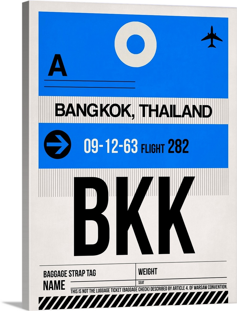 Large Solid-Faced Canvas Print Wall Art Print 30 x 40 entitled BKK Bangkok Luggage Tag II Solid-Faced Canvas Print entitled BKK Bangkok Luggage Tag II.  Multiple sizes available.  Primary colors within this image include Black, White, Royal Blue.  Made in the USA.  All products come with a 365 day workmanship guarantee.  Archival-quality UV-resistant inks.  Canvas is handcrafted and made-to-order in the United States using high quality artist-grade canvas.  Featuring a proprietary design, our canvases produce the tightest corners without any bubbles, ripples, or bumps and will not warp or sag over time.