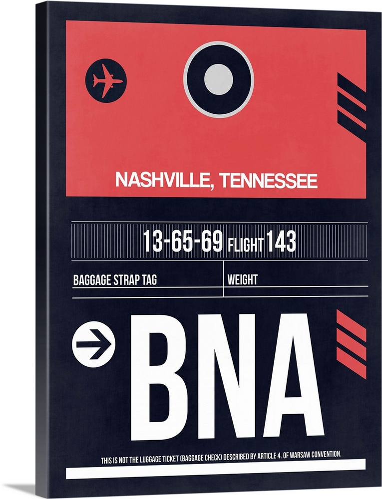 Large Solid-Faced Canvas Print Wall Art Print 30 x 40 entitled BNA Nashville Luggage Tag I Solid-Faced Canvas Print entitled BNA Nashville Luggage Tag I.  Multiple sizes available.  Primary colors within this image include Pink, White, Dark Navy Blue.  Made in USA.  Satisfaction guaranteed.  Archival-quality UV-resistant inks.  Canvas is handcrafted and made-to-order in the United States using high quality artist-grade canvas.  Canvas depth is 1.25 and includes a finished backing with pre-installed hanging hardware.