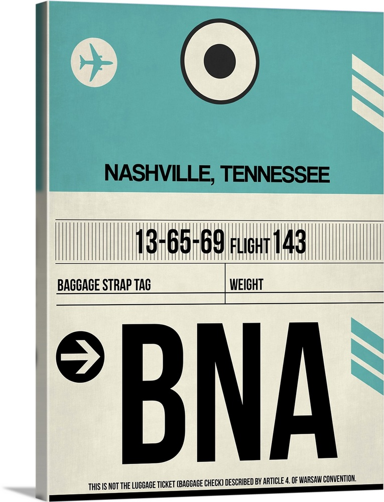 Large Solid-Faced Canvas Print Wall Art Print 30 x 40 entitled BNA Nashville Luggage Tag II Solid-Faced Canvas Print entitled BNA Nashville Luggage Tag II.  Multiple sizes available.  Primary colors within this image include Black, Teal.  Made in the USA.  Satisfaction guaranteed.  Inks used are latex-based and designed to last.  Featuring a proprietary design, our canvases produce the tightest corners without any bubbles, ripples, or bumps and will not warp or sag over time.  Canvas is handcrafted and made-to-order in the United States using high quality artist-grade canvas.