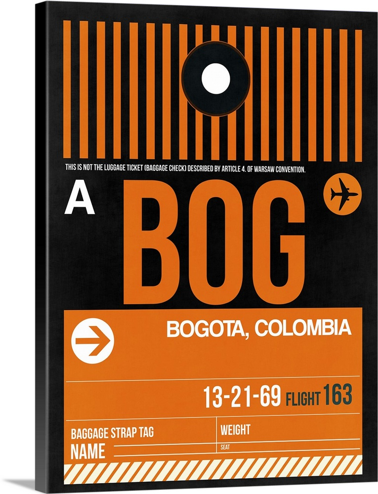 Large Solid-Faced Canvas Print Wall Art Print 30 x 40 entitled BOG Bogota Luggage Tag II Solid-Faced Canvas Print entitled BOG Bogota Luggage Tag II.  Multiple sizes available.  Primary colors within this image include Orange, Black, White.  Made in USA.  Satisfaction guaranteed.  Inks used are latex-based and designed to last.  Featuring a proprietary design, our canvases produce the tightest corners without any bubbles, ripples, or bumps and will not warp or sag over time.  Archival inks prevent fading and preserve as much fine detail as possible with no over-saturation or color shifting.